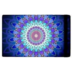 Power Flower Mandala   Blue Cyan Violet Apple Ipad 3/4 Flip Case by EDDArt