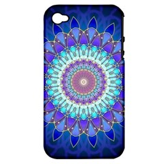 Power Flower Mandala   Blue Cyan Violet Apple Iphone 4/4s Hardshell Case (pc+silicone) by EDDArt