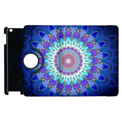 Power Flower Mandala   Blue Cyan Violet Apple Ipad 3/4 Flip 360 Case by EDDArt