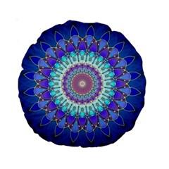 Power Flower Mandala   Blue Cyan Violet Standard 15  Premium Round Cushions by EDDArt