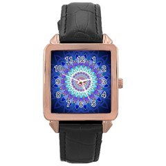 Power Flower Mandala   Blue Cyan Violet Rose Gold Leather Watch  by EDDArt