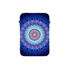 Power Flower Mandala   Blue Cyan Violet Apple Ipad Mini Protective Soft Cases by EDDArt