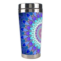 Power Flower Mandala   Blue Cyan Violet Stainless Steel Travel Tumblers by EDDArt