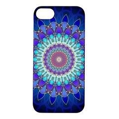 Power Flower Mandala   Blue Cyan Violet Apple Iphone 5s/ Se Hardshell Case by EDDArt