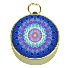 Power Flower Mandala   Blue Cyan Violet Gold Compasses by EDDArt
