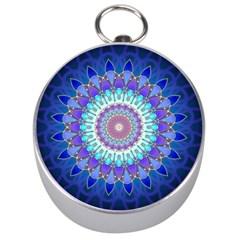 Power Flower Mandala   Blue Cyan Violet Silver Compasses by EDDArt