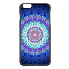 Power Flower Mandala   Blue Cyan Violet Apple Iphone 6 Plus/6s Plus Black Enamel Case by EDDArt