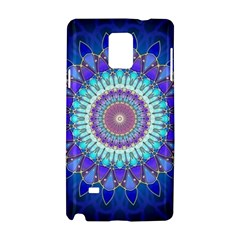 Power Flower Mandala   Blue Cyan Violet Samsung Galaxy Note 4 Hardshell Case by EDDArt