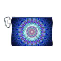 Power Flower Mandala   Blue Cyan Violet Canvas Cosmetic Bag (m) by EDDArt
