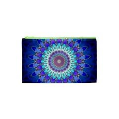 Power Flower Mandala   Blue Cyan Violet Cosmetic Bag (xs) by EDDArt