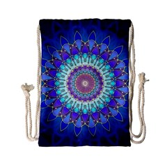 Power Flower Mandala   Blue Cyan Violet Drawstring Bag (small) by EDDArt