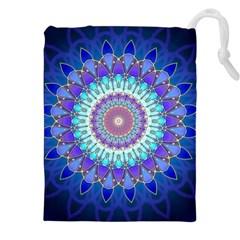 Power Flower Mandala   Blue Cyan Violet Drawstring Pouches (xxl) by EDDArt