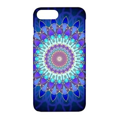 Power Flower Mandala   Blue Cyan Violet Apple Iphone 7 Plus Hardshell Case by EDDArt