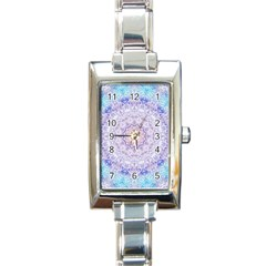 India Mehndi Style Mandala   Cyan Lilac Rectangle Italian Charm Watch by EDDArt