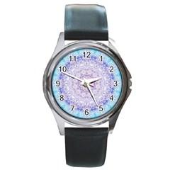 India Mehndi Style Mandala   Cyan Lilac Round Metal Watch by EDDArt