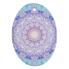 India Mehndi Style Mandala   Cyan Lilac Ornament (oval) by EDDArt