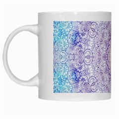 India Mehndi Style Mandala   Cyan Lilac White Mugs by EDDArt