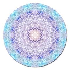 India Mehndi Style Mandala   Cyan Lilac Magnet 5  (round) by EDDArt