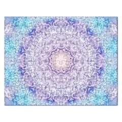 India Mehndi Style Mandala   Cyan Lilac Rectangular Jigsaw Puzzl by EDDArt