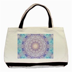 India Mehndi Style Mandala   Cyan Lilac Basic Tote Bag by EDDArt