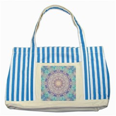 India Mehndi Style Mandala   Cyan Lilac Striped Blue Tote Bag by EDDArt