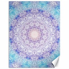 India Mehndi Style Mandala   Cyan Lilac Canvas 18  X 24   by EDDArt