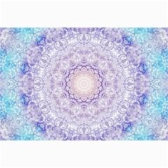 India Mehndi Style Mandala   Cyan Lilac Canvas 20  X 30   by EDDArt