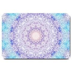 India Mehndi Style Mandala   Cyan Lilac Large Doormat  by EDDArt