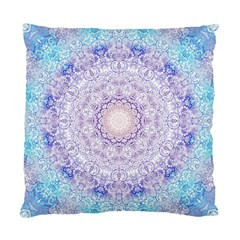 India Mehndi Style Mandala   Cyan Lilac Standard Cushion Case (two Sides) by EDDArt