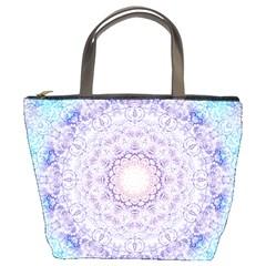 India Mehndi Style Mandala   Cyan Lilac Bucket Bags by EDDArt
