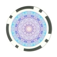 India Mehndi Style Mandala   Cyan Lilac Poker Chip Card Guard (10 Pack) by EDDArt