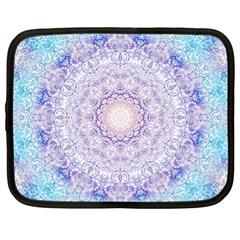 India Mehndi Style Mandala   Cyan Lilac Netbook Case (xl)  by EDDArt