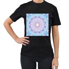 India Mehndi Style Mandala   Cyan Lilac Women s T Shirt (black) by EDDArt
