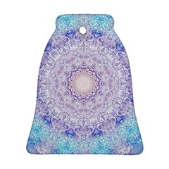 India Mehndi Style Mandala   Cyan Lilac Bell Ornament (two Sides) by EDDArt