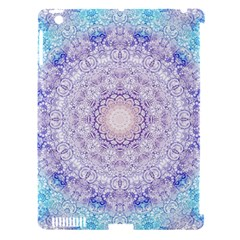 India Mehndi Style Mandala   Cyan Lilac Apple Ipad 3/4 Hardshell Case (compatible With Smart Cover) by EDDArt