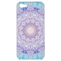 India Mehndi Style Mandala   Cyan Lilac Apple Iphone 5 Hardshell Case by EDDArt