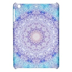 India Mehndi Style Mandala   Cyan Lilac Apple Ipad Mini Hardshell Case by EDDArt
