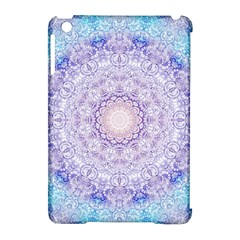 India Mehndi Style Mandala   Cyan Lilac Apple Ipad Mini Hardshell Case (compatible With Smart Cover) by EDDArt