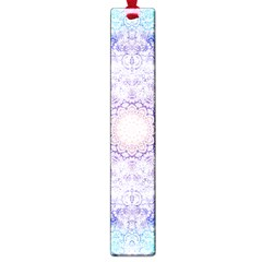 India Mehndi Style Mandala   Cyan Lilac Large Book Marks by EDDArt