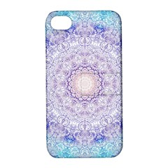 India Mehndi Style Mandala   Cyan Lilac Apple Iphone 4/4s Hardshell Case With Stand by EDDArt