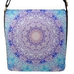 India Mehndi Style Mandala   Cyan Lilac Flap Messenger Bag (s) by EDDArt