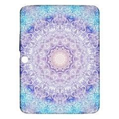 India Mehndi Style Mandala   Cyan Lilac Samsung Galaxy Tab 3 (10 1 ) P5200 Hardshell Case  by EDDArt