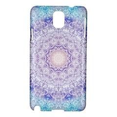 India Mehndi Style Mandala   Cyan Lilac Samsung Galaxy Note 3 N9005 Hardshell Case by EDDArt