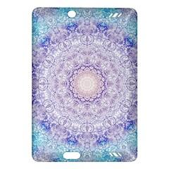 India Mehndi Style Mandala   Cyan Lilac Amazon Kindle Fire Hd (2013) Hardshell Case by EDDArt