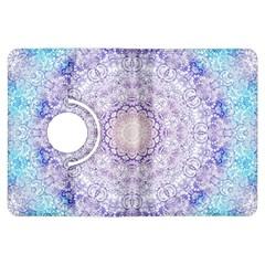 India Mehndi Style Mandala   Cyan Lilac Kindle Fire Hdx Flip 360 Case by EDDArt