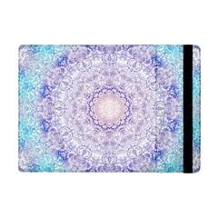 India Mehndi Style Mandala   Cyan Lilac Ipad Mini 2 Flip Cases by EDDArt