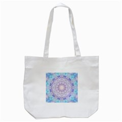 India Mehndi Style Mandala   Cyan Lilac Tote Bag (white) by EDDArt