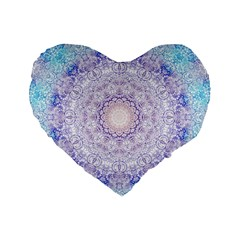 India Mehndi Style Mandala   Cyan Lilac Standard 16  Premium Flano Heart Shape Cushions by EDDArt