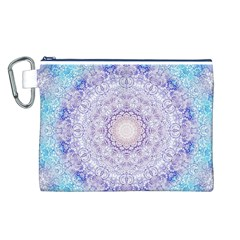 India Mehndi Style Mandala   Cyan Lilac Canvas Cosmetic Bag (l) by EDDArt