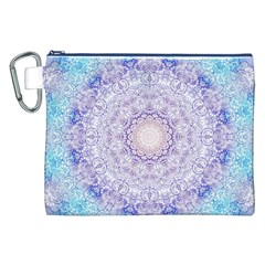 India Mehndi Style Mandala   Cyan Lilac Canvas Cosmetic Bag (xxl) by EDDArt